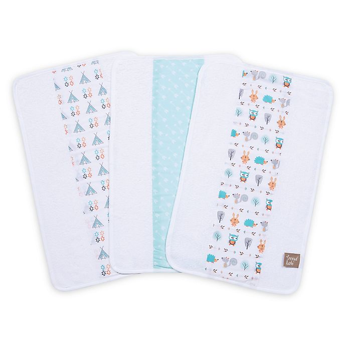 Alternate image 1 for Trend Lab® Forest Babies 3-Pack Jumbo Burp Cloth Set
