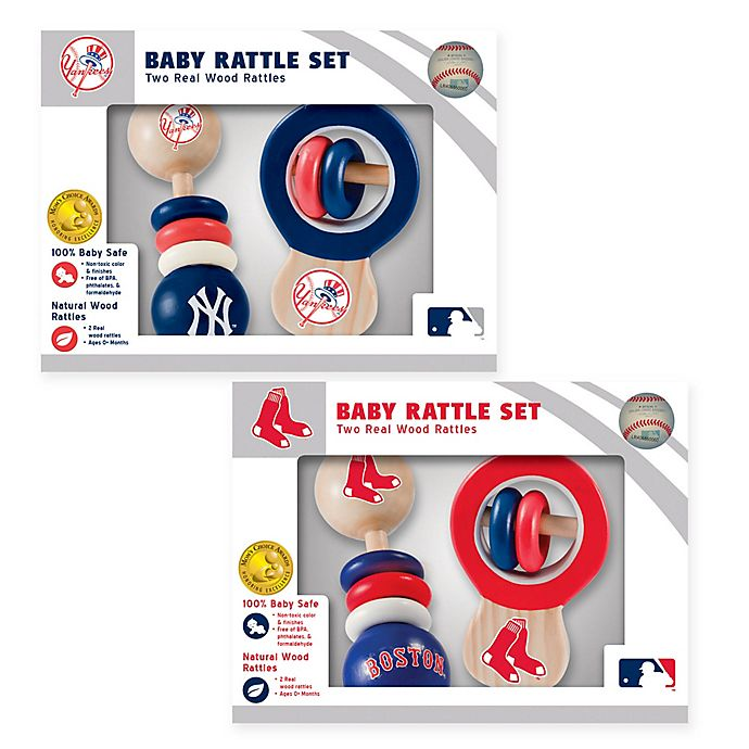 Alternate image 1 for MLB Rattles (Set of 2) Collection