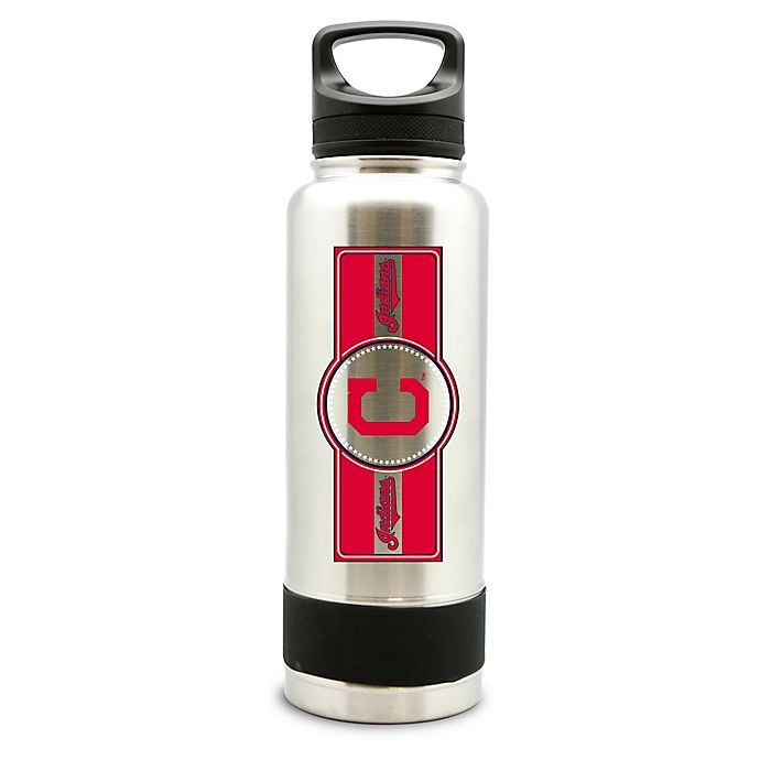 Alternate image 1 for MLB Cleveland Indians 34 oz. Thermo Double-Wall Stainless Steel Water Bottle