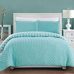 Chic Home Maritoni 7-Piece Reversible Queen Comforter Set in Aqua