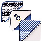 Luvable Friends® 3-Pack Penguin Hooded Towel Set in Blue