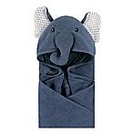 Little Treasures Chevron Elephant Hooded Towel in Blue/Grey