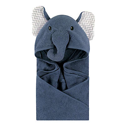 Little Treasures Chevron Elephant Hooded Towel in Blue/Grey