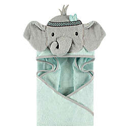 Little Treasures Tribal Elephant Hooded Towel in Blue/Teal