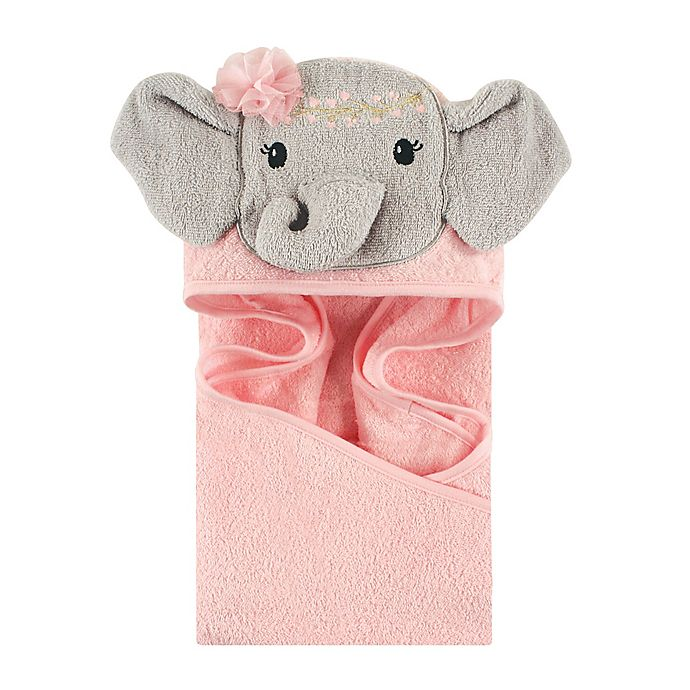 Alternate image 1 for Little Treasures Blossom Elephant Hooded Towel in Pink/Grey