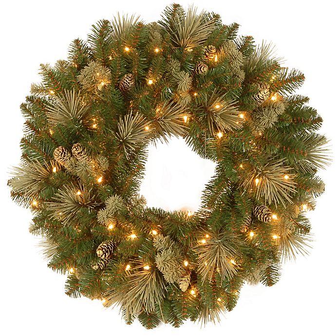 Alternate image 1 for National Tree Company Pre-Lit LED Carolina Pine Wreath