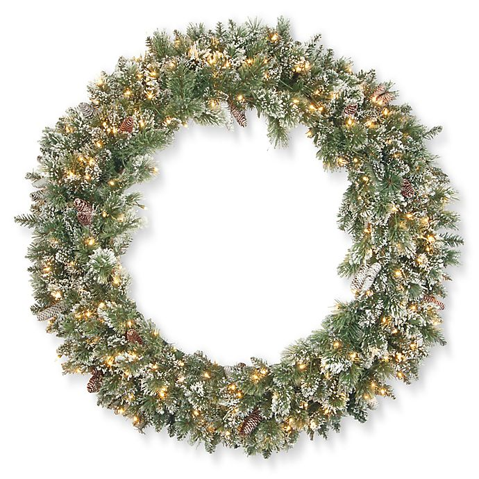 Alternate image 1 for National Tree Company Pre-Lit Glittery Bristle Pine Wreath with Clear Lights