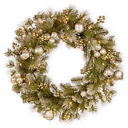National Tree Company Pre-Lit 24-Inch Glittery Pomegranate Pine Wreath
