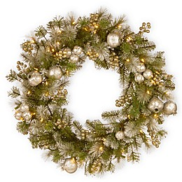 National Tree Company Pre-Lit Glittery Pomegranate Pine Wreath