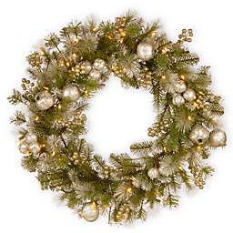 National Tree Company Pre-Lit Glittery Pomegranate Pine Wreath