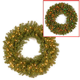 National Tree Company Pre-Lit Norwood Fir Wreath with Dual Color® LED Lights