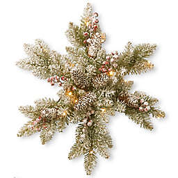 National Tree Company 18-Inch Pre-Lit Snowy Dunhill Fir Snowflake