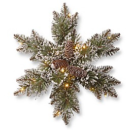 National Tree Company Pre-Lit Glittery Bristle Pine Snowflake w/ LED Lights