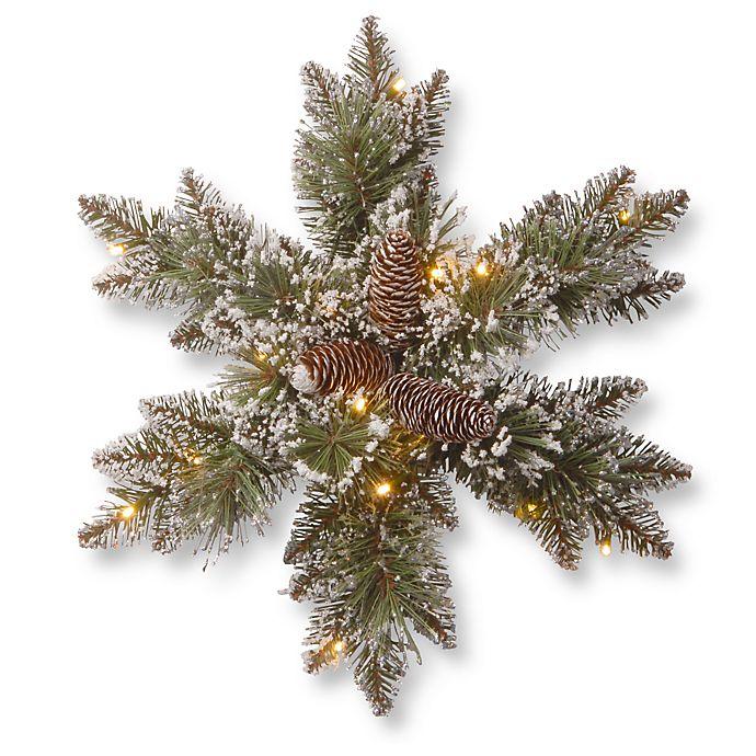 Alternate image 1 for National Tree Company Pre-Lit Glittery Bristle Pine Snowflake w/ LED Lights