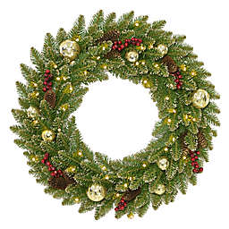 National Tree Company Pre-Lit 24-Inch Glittery Gold Dunhill Fir Wreath
