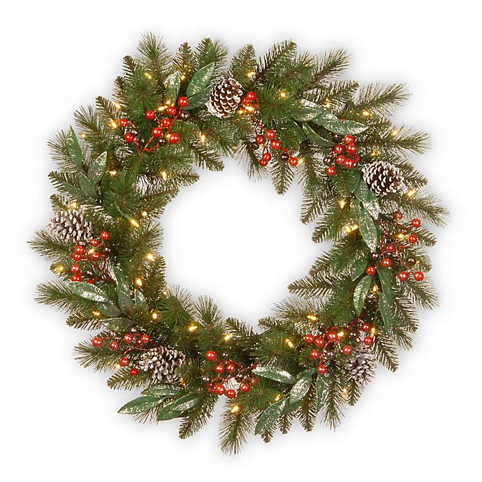 Alternate image 1 for National Tree Company 30-Inch Pre-Lit LED Frosted Pine Berry Wreath