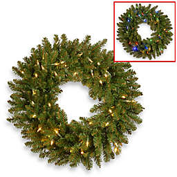 National Tree Company® 30-Inch Kingswood Fir Wreath with Dual Color LED Lights
