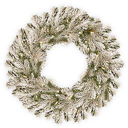 National Tree Company 30-Inch Pre-Lit Snowy Sheffield Spruce Wreath