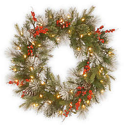 National Tree Company® 30-Inch Wintry Berry Wreath with White LED Lights