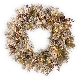 National Tree Company® 30-Inch Snowy Bedford Pine Wreath with White LED Lights