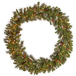 National Tree Company 48-Inch Crestwood Spruce Pre-Lit Wreath with Clear Lights