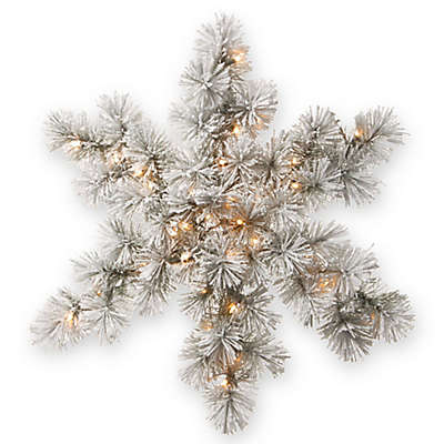 National Tree Company® 32-Inch Snowy Bristle Snowflake with White LED Lights