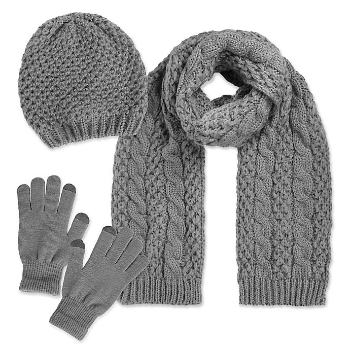 Luxspun 3 Piece Cable Knit Hat Scarf And Touch Glove Set Bed Bath