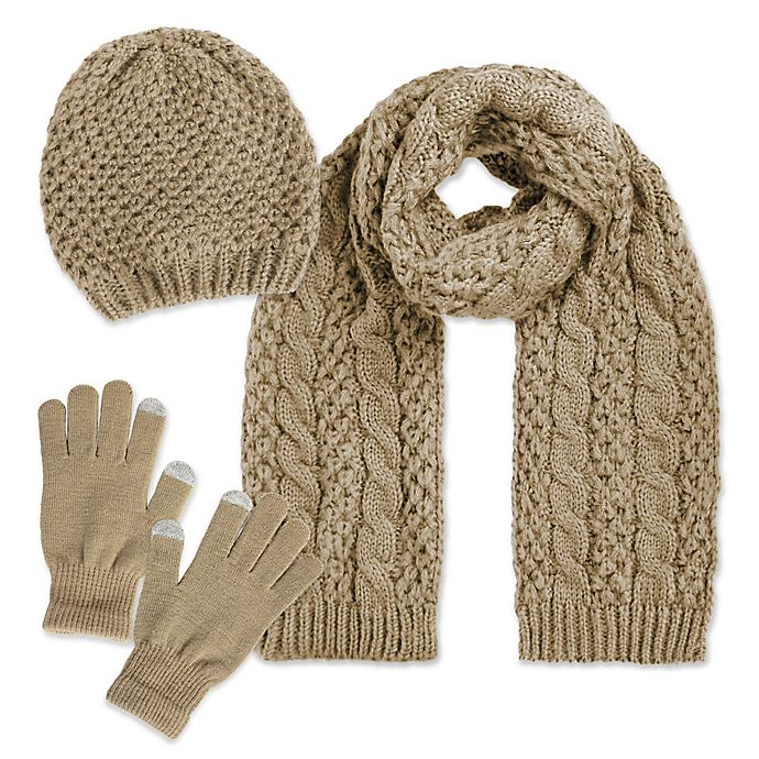 Alternate image 1 for Luxspun 3-Piece Cable Knit Hat, Scarf and Touch Glove Set in Beige
