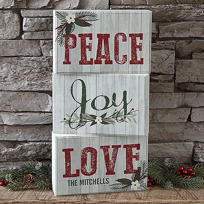 Alternate image 1 for Peace, Joy, Love Personalized Rectangle Shelf Blocks (Set of 3)