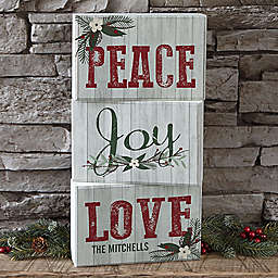 Peace, Joy, Love Personalized Rectangle Shelf Blocks (Set of 3)