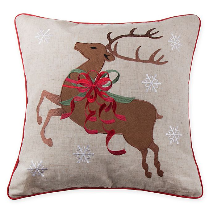 Alternate image 1 for Reindeer Bows Square Throw Pillow in Natural