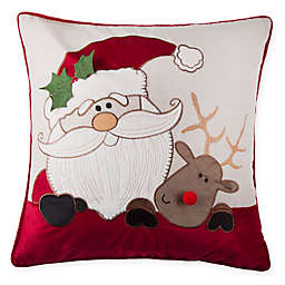 Sleigh Buddies Square Throw Pillow in Red/Natural