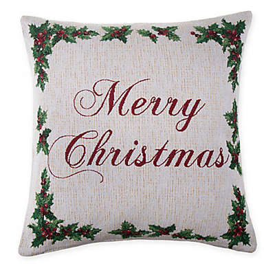 Make-Your-Own-Pillow Holly Script Square Throw Pillow Cover in Ivory