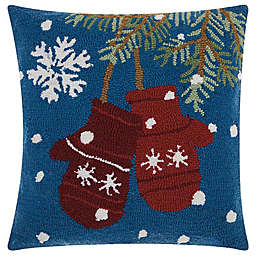 Mina Victory Home for the Holiday Mittens Square Throw Pillow in Blue/White
