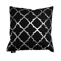 Kensie Holly Metallic Lattice Square Throw Pillow Cover in Black/Silver