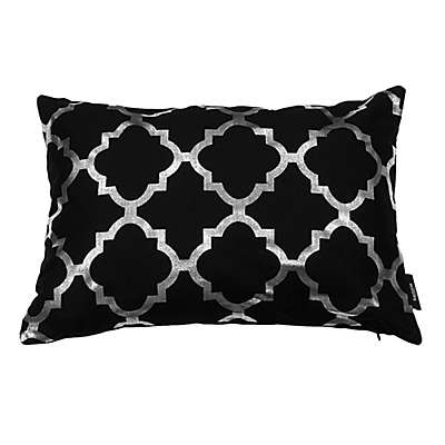 Kensie Holly Metallic Lattice Oblong Throw Pillow Cover in Black/Silver
