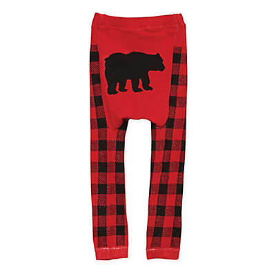 Doodle Pants® Bear Flannel Leggings in Red/Black