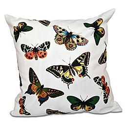 E by Design Butterflies Animal Print Square Throw Pillow