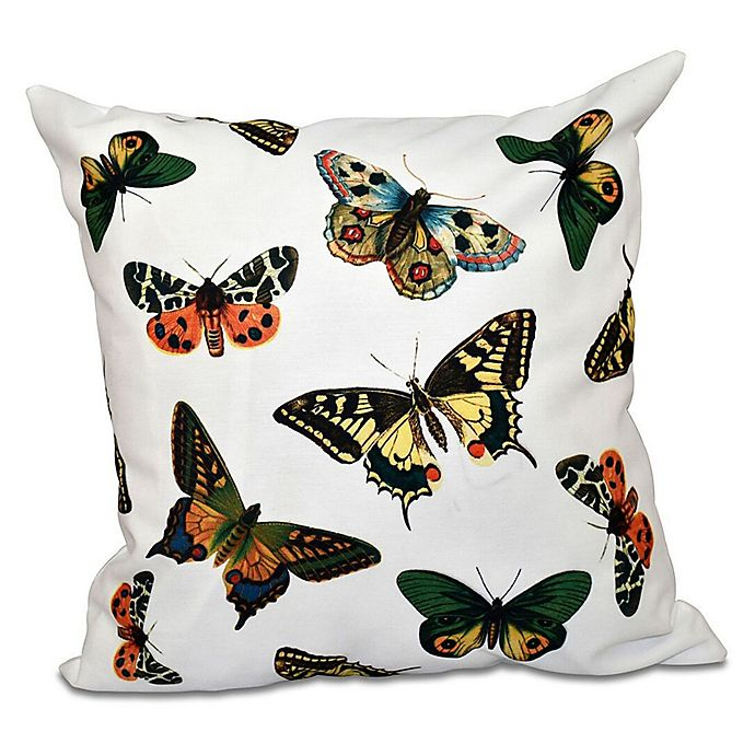 Alternate image 1 for E by Design Butterflies Animal Print Square Throw Pillow