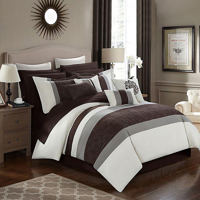 Alternate image 1 for Chic Home Seigel 16-Piece Queen Comforter Set in Beige