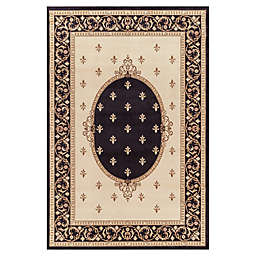 Jewel Collection Medallion 7-Foot 10-Inch x 9-Foot 10-Inch Area Rug in Black