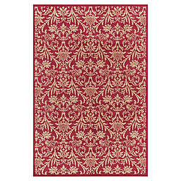 Jewel Damask 3-Foot 11-Inch x 5-Foot 7-Inch Area Rug in Red