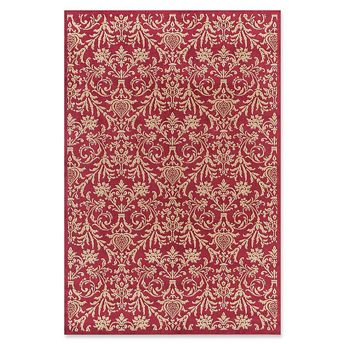 Alternate image 1 for Jewel Damask 5-Foot 3-Inch x 7-Foot 7-Inch Area Rug in Red