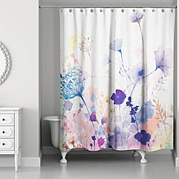 Designs Direct Watercolor Botanicals Shower Curtain in Purple