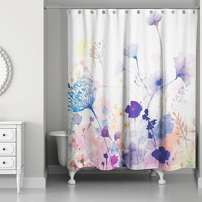 Designs Direct Watercolor Botanicals Shower Curtain In