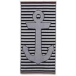 Stripe Anchor Beach Towel in Blue