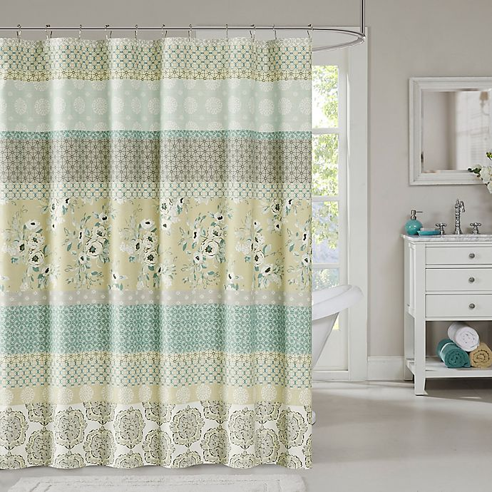 Madison Park Willa Shower Curtain In Green Bed Bath Amp Beyond