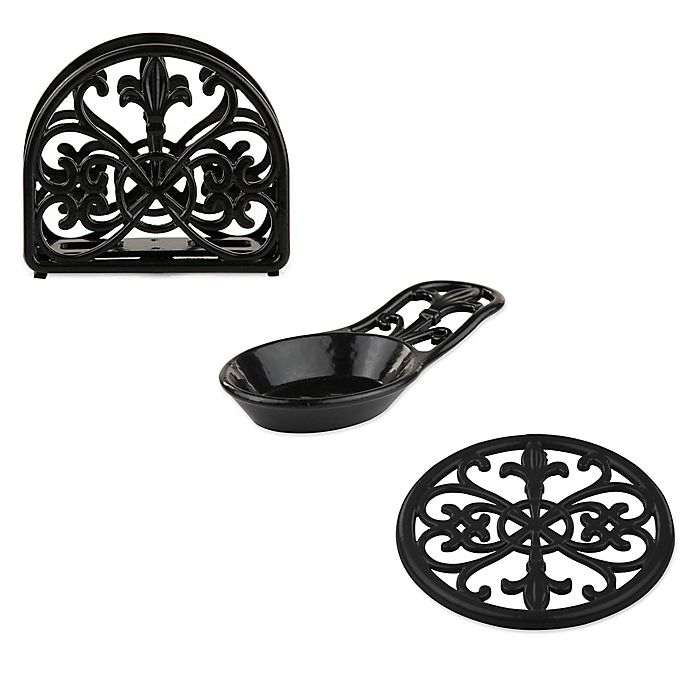 Home Basics Fleur De Lis Cast Iron Kitchen Accessories Collection In