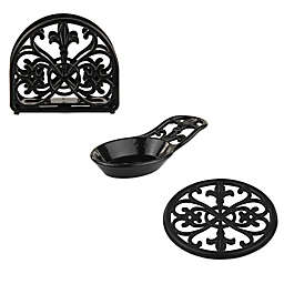 Home Basics Fleur de Lis Cast Iron Kitchen Accessories Collection in Black