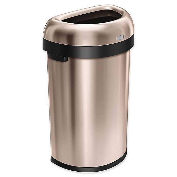 Alternate image 1 for simplehuman® Brushed Stainless Steel Semi-Round 60-Liter Open Trash Can